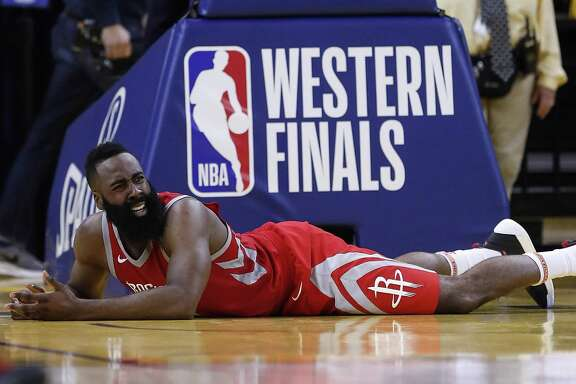 Guard James Harden finished with a team-high 32 points and broke his 3-point drought, but his team was knocked to the deck in the second half by the Warriors.