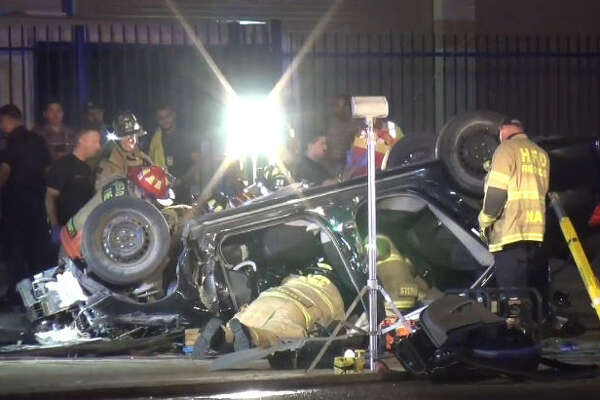 A driver knocked down a pole in a dramatic rollover wreck in the Galleria area.
