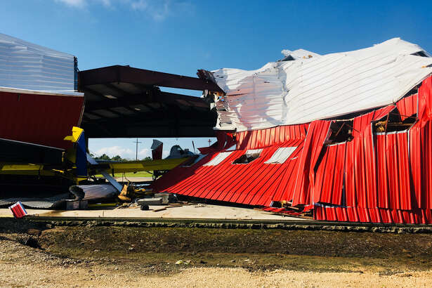 The severe thunderstorm that passed through Southeast Texas Saturday afternoon damaged three airplanes and ripped down a wall of a hangar at M and M Air Service in Winnie. Photo provided by Andy Mitchell.