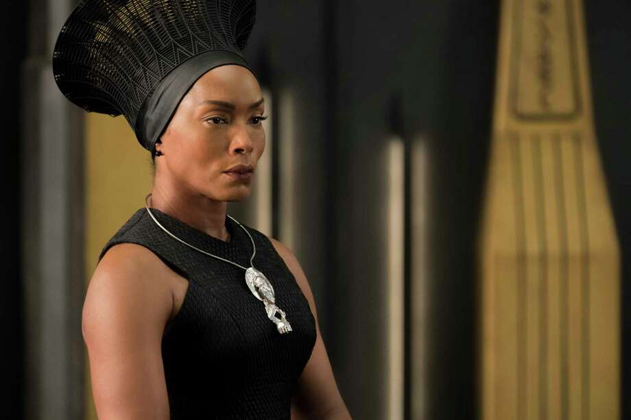 "This image released by Disney -Marvel Studios shows, Angela Bassett in a scene from ""Black Panther."" Danai Gurira says the representation of women in ""Black Panther"" is important for young girls to see. The film features a number of powerful female leads, including Gurira as the head of a special forces unit, Lupita Nyong'o as a spy, Bassett as the Queen Mother and newcomer Letitia Wright as a scientist and inventor.  (Matt Kennedy/Disney/Marvel Studios via AP) Photo: Matt Kennedy, Associated Press / null"