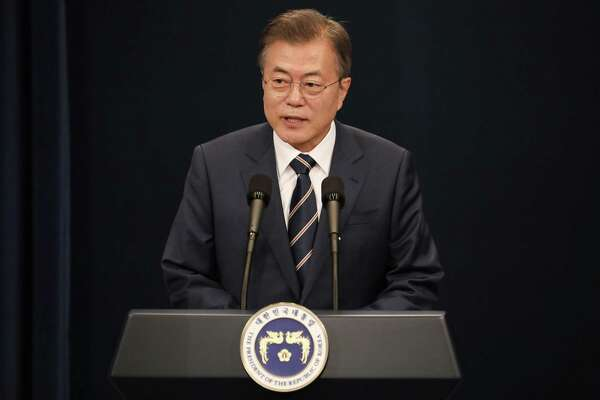 Moon Jae-in, South Korea's president, speaks during a news conference at the presidential Blue House in Seoul on Sunday. The leaders of North and South Korea met for two hours Saturday to discuss ways to salvage the canceled summit between North Korean leader Kim Jong Un and President Donald Trump, and the two countries plan additional talks this week.