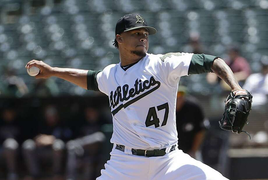 Oakland Athletics pitcher Frankie Montas (47) throws against the Arizona Diamondbacks during the first inning of a baseball game in Oakland, Calif., Sunday, May 27, 2018. (AP Photo/Jeff Chiu) Photo: Jeff Chiu / Associated Press
