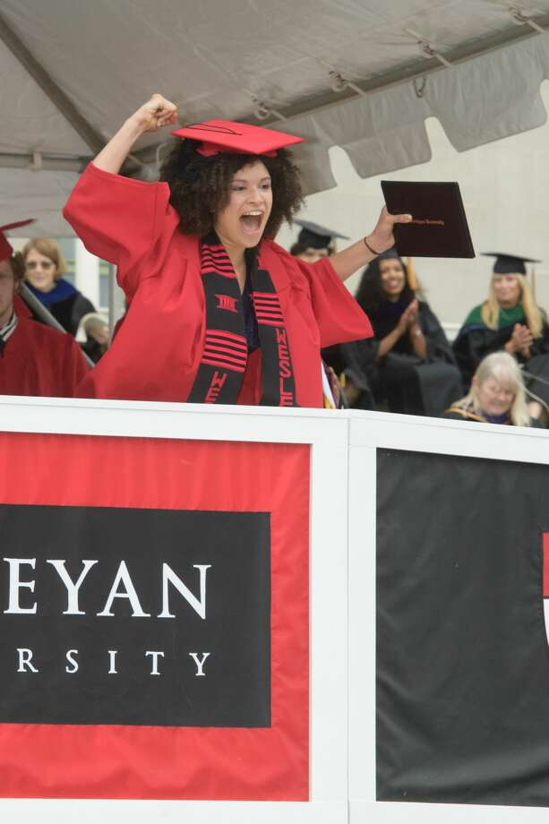 Wesleyan University's 186th graduation exercises were held Sunday on Andrus Field in Middletown, where the Class of 2018 heard Anita Hill deliver the commencement address. Photo: Mark W. Brendel