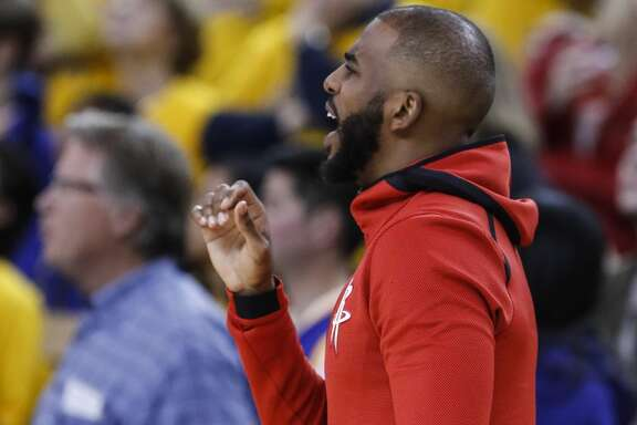 Houston Rockets guard Chris Paul (3) yells from the bench during the second half of Game 6 of the NBA Western Conference Finals against the Golden State Warriors at Oracle Arena, Saturday, May 26, 2018, in Oakland.  ( Karen Warren  / Houston Chronicle )