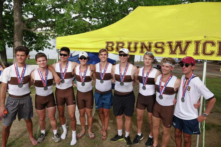 Brunswick School's varsity eight boat placed second in the Grand Finals at the NEIRA Championships on Saturday in Worcester, Mass. It was the school's best ever showing at the competitive regatta. Photo: Submitted Photo
