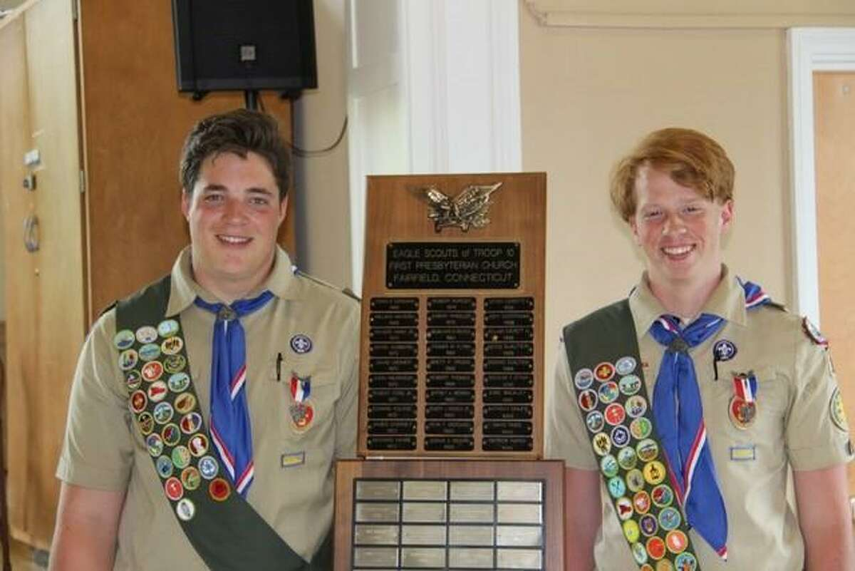 Leo Johnson (left) and Will Graney Green of Troop 10 in Fairfield celebrated their Eagle Scout rank on Saturday.