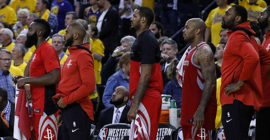 Houston Rockets guards James Harden (13) and Chris Paul (3) stand at the bench during the fourth quarter of Game 6 of the NBA Western Conference Finals at Oracle Arena, Saturday, May 26, 2018, in Oakland.  ( Karen Warren  / Houston Chronicle ) Photo: Karen Warren/Houston Chronicle