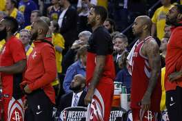 Houston Rockets guards James Harden (13) and Chris Paul (3) stand at the bench during the fourth quarter of Game 6 of the NBA Western Conference Finals at Oracle Arena, Saturday, May 26, 2018, in Oakland.  ( Karen Warren  / Houston Chronicle )