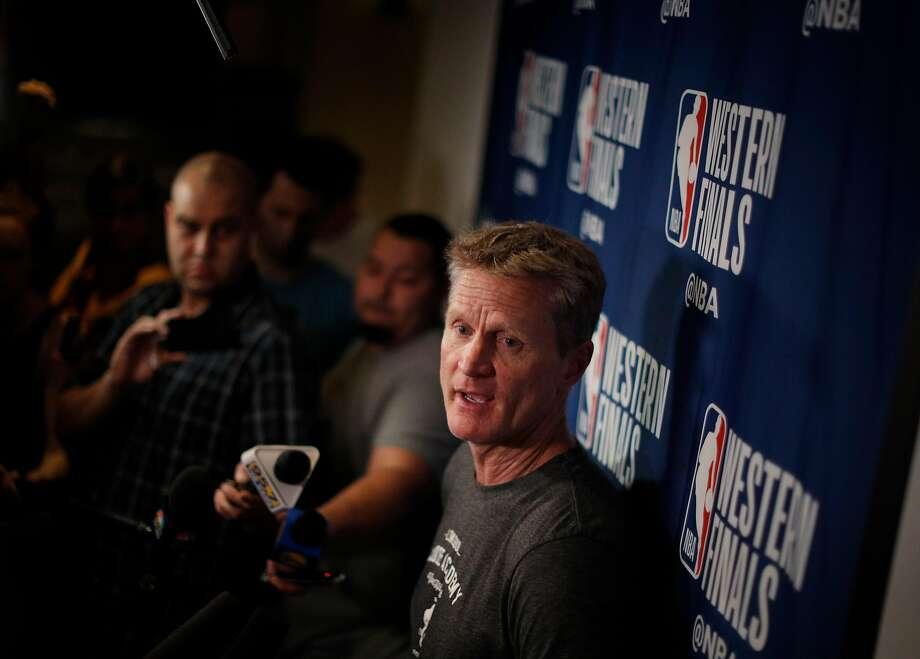 Warriors head coach Steve Kerr speaks to the media following a team meeting  in preparation for 7f58b2605