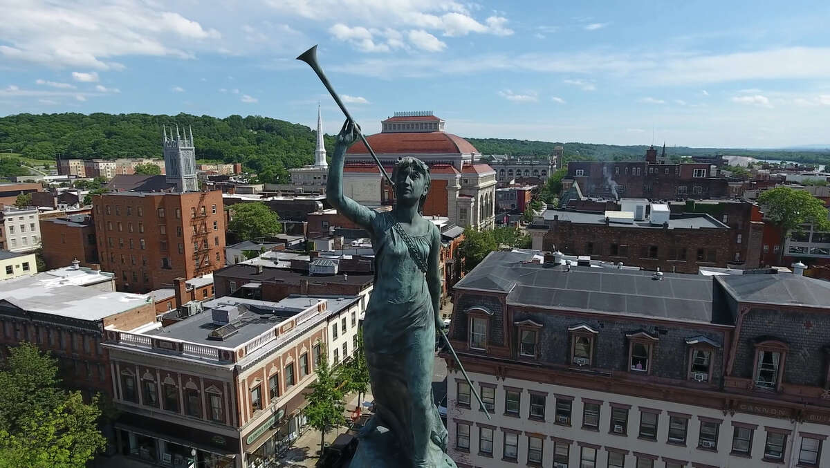 A drone's close up look at the Call of Arms statue that is located atop the 93-foot high Rensselaer County Soldiers and Sailors Monument in Monument Square, Troy.