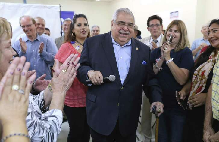 Bexar County Commissioner Paul Elizondo  thanks supporters after seeing election results in his favor on Tuesday, May 22, 2018. Elizondo faced challenger Queta Rodriguez for the Democratic nomination.
