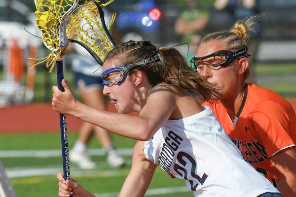 Saratoga's Katie Wendell (22) moves the ball against Bethlehem's during a Section II Class A girls' lacrosse final Wednesday, May 23, 2018, in Rotterdam, N.Y. (Hans Pennink / Special to the Times Union)