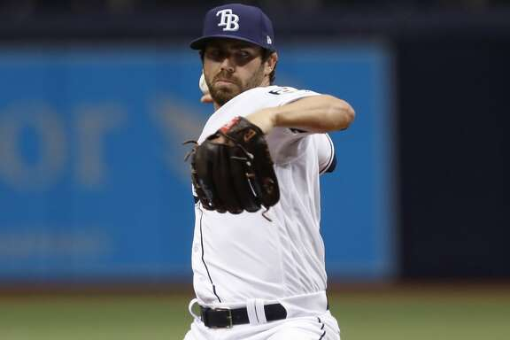 ST. PETERSBURG, FL - MARCH 29: Tampa Bay Rays relief pitcher Austin Pruitt (50) delivers a pitch during the MLB game between the Boston Red Sox and Tampa Bay Rays on March 29, 2018 at Tropicana Field in St. Petersburg, FL. (Photo by Mark LoMoglio/Icon Sportswire via Getty Images)