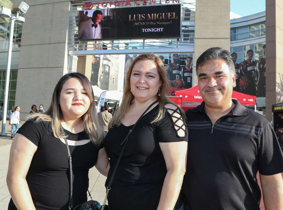 Luis Miguel fans before his performs in the Toyota Center Sunday, May 27, 2018, in Houston.