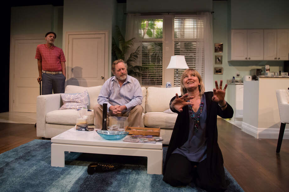"From left, Kevin Vavasseur, Steven Barkhimer and Corinna May in ""Morning After Grace"" at Shakespeare & Company. (S&C publicity photo by Emma Rothenberg-Ware.)"