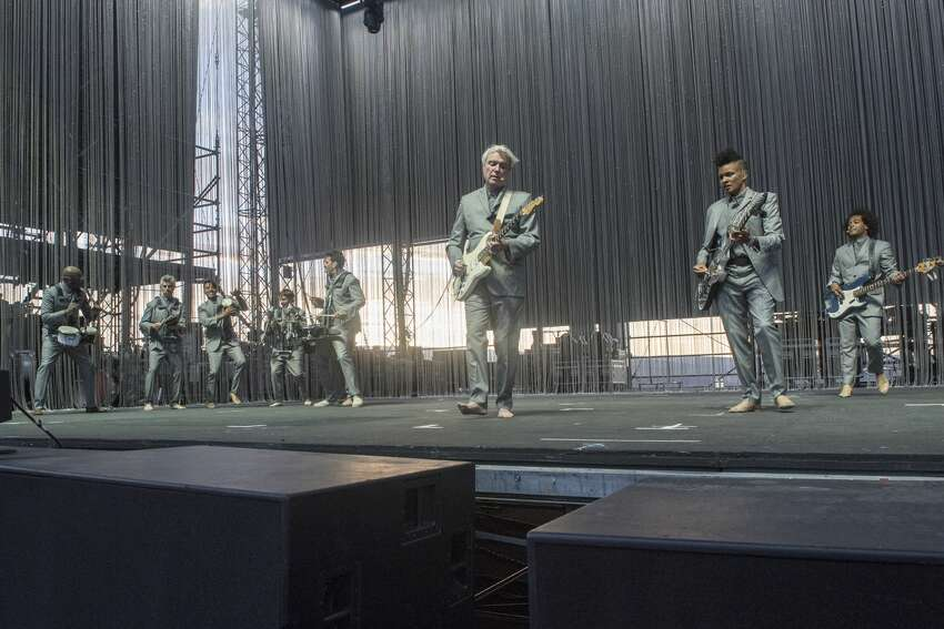 GEORGE, WA - MAY 25: David Byrne (C) performs live on stage at Gorge Amphitheatre on May 25, 2018 in George, Washington. (Photo by Jim Bennett/Getty Images)