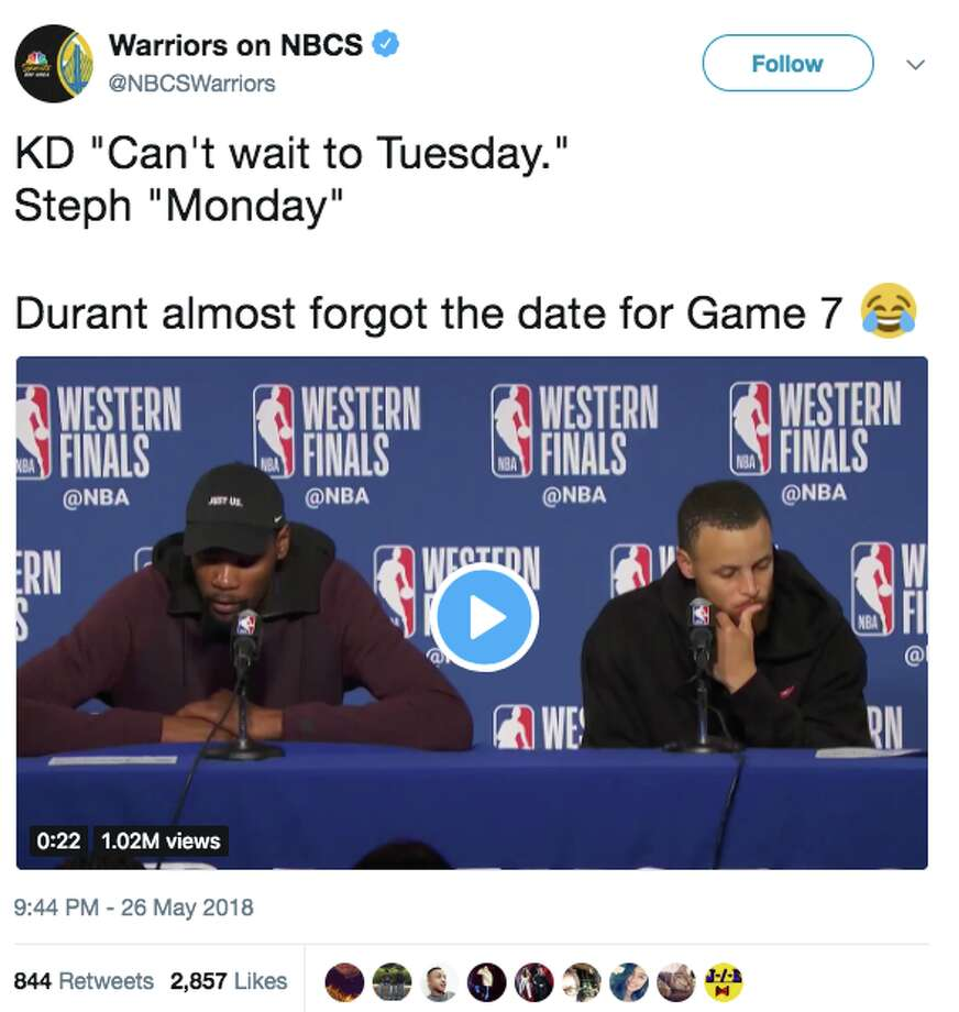 Steph Curry reminds Kevin Durant Game 7 is Monday: 'Please don't miss the game'