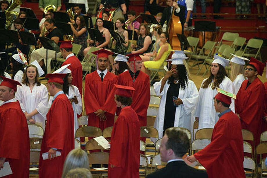 Jacksonville High School seniors filled the JHS Bowl on Friday for the school's commencement ceremony. There were 190 graduates this year. Photo:       Samantha McDaniel-Ogletree | Journal-Courier