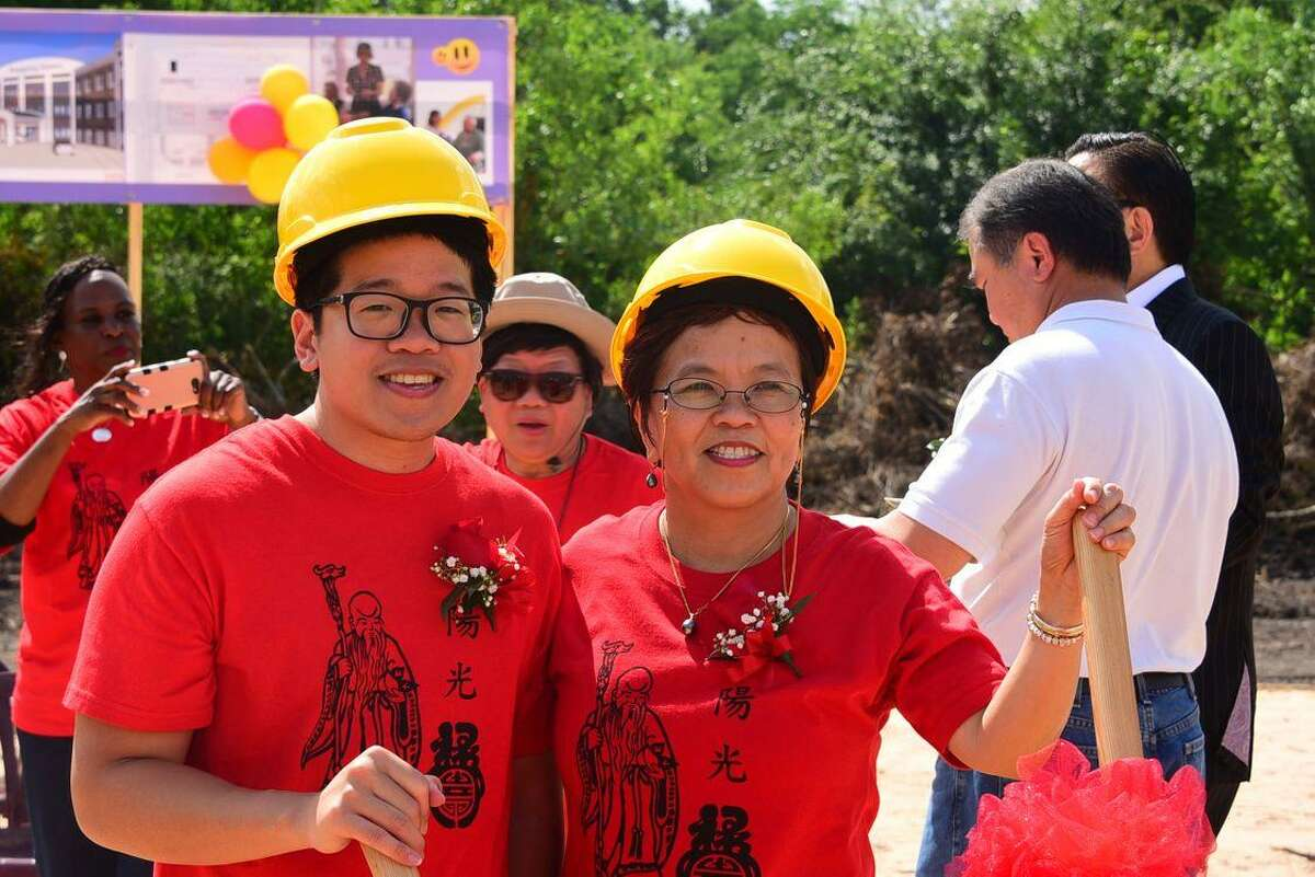 Everspring Assisted Living CEO Jan Chang and her son Dr. Zhen Tan celebrate the groundbreaking of her new retirement community.