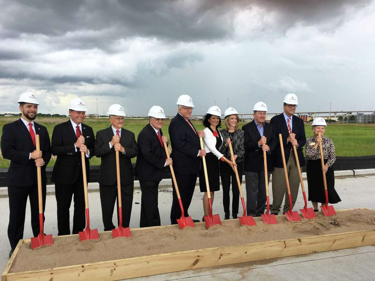 Dark clouds threatened stormy weather, but didn't stop the May 23, 2018, groundbreaking for an 80,000-square-foot academic building for the University of Houston at Katy campus.