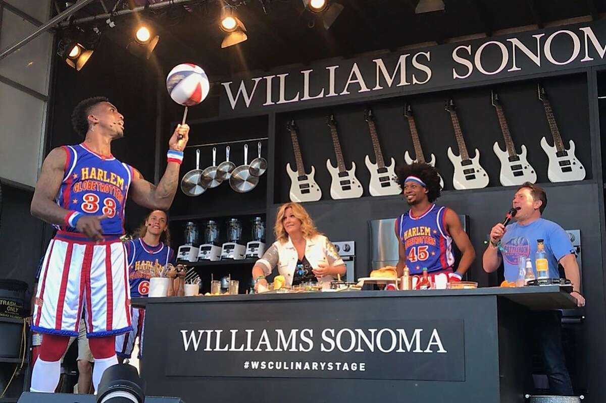 Country singer and Food Network star Trisha Yearwood did a cooking demonstration at BottleRock Napa Valley's Williams Sonoma Culinary Stage on Sunday, May 27, joined by members of the Harlem Globetrotters.