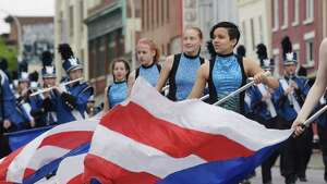 Members of the Albany Marching Falcons perform as they take part in the Albany Memorial Day Parade on Monday, May 28, 2018, in Albany, N.Y. (Paul Buckowski/Times Union)