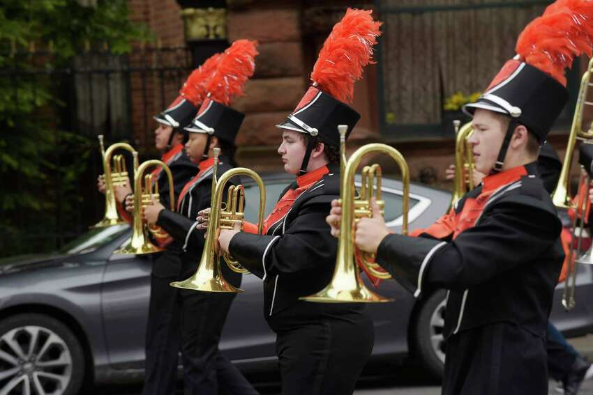 Members of the Mohonasen Marching Band make their way along Central Ave. as they take part in the Albany Memorial Day Parade on Monday, May 28, 2018, in Albany, N.Y. (Paul Buckowski/Times Union)