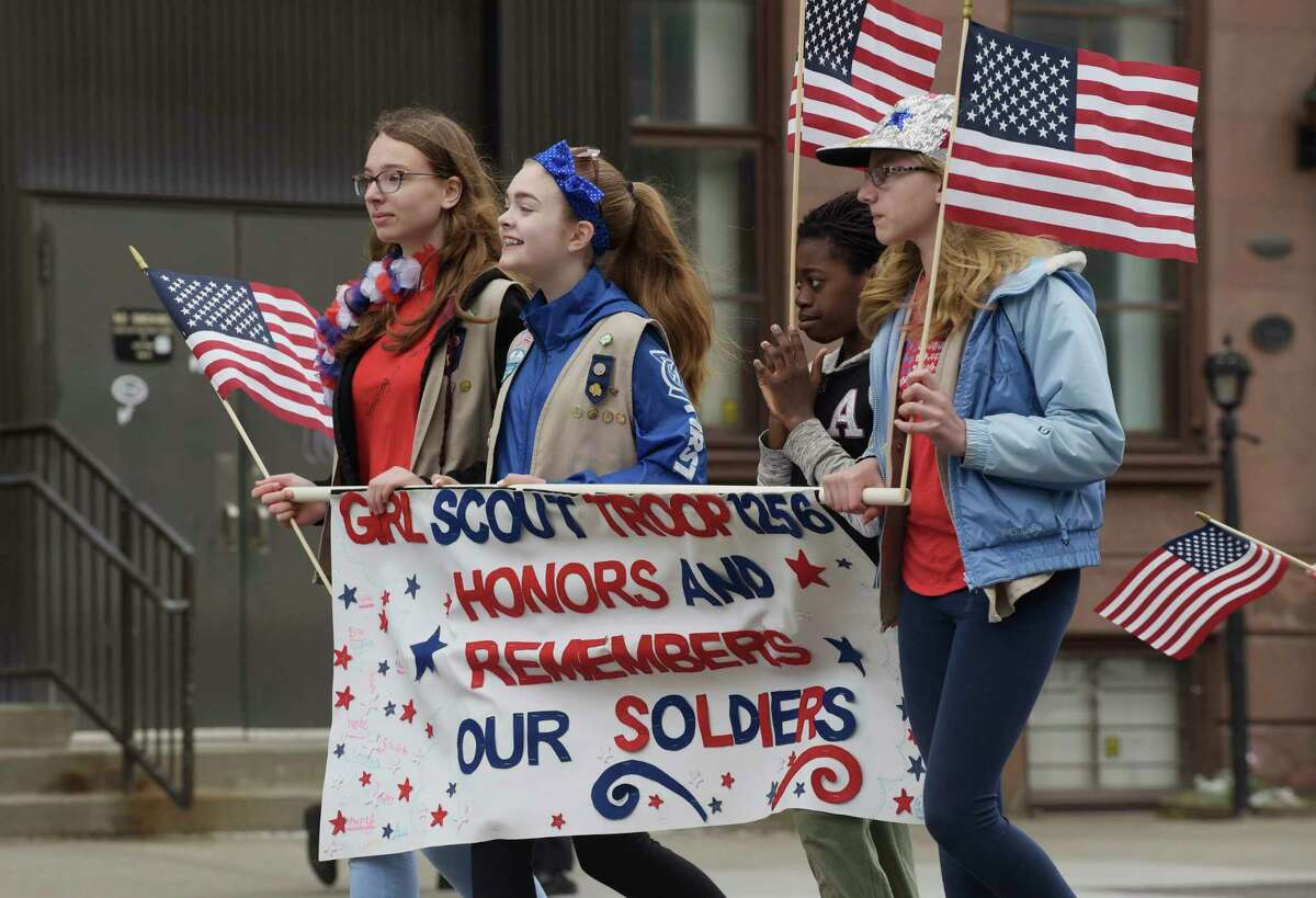Girls with the Girl Scout Troop 1256 march in the Albany Memorial Day Parade on Monday, May 28, 2018, in Albany, N.Y. (Paul Buckowski/Times Union)