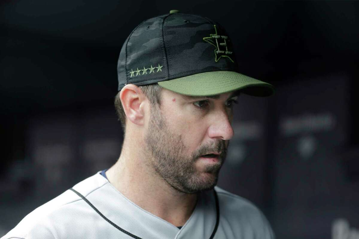 Houston Astros starting pitcher Justin Verlander before the first inning of the game against the New York Yankees at Yankee Stadium Monday, May 28, 2018 in New York. (AP Photo/Seth Wenig)