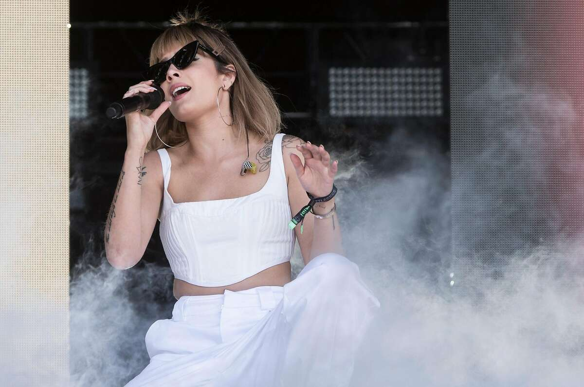 Halsey performs on the Jam Cellars stage during the third day of Bottle Rock Music Festival at Napa Expo in Napa, Calif. Sunday, May 27, 2018.
