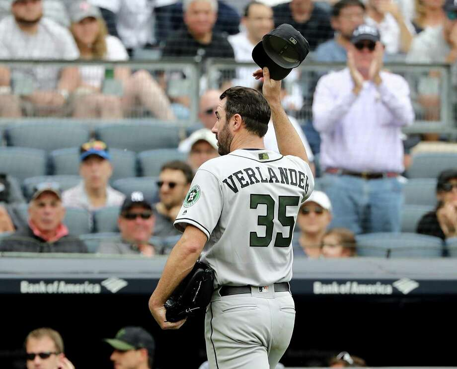 Justin Verlander, who says he considers boos in the Bronx a term of endearment, acknowledges the Yankee Stadium crowd as he exits Monday's game in the seventh inning. Photo: Elsa, Staff / Getty Images / 2018 Getty Images