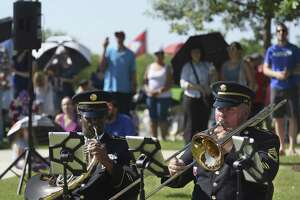Members of Fort Sam Houston's 323rd Army Band play during the Memorial Day ceremony at Fort Sam Houston National Cemetery on Monday, May 28, 2018. Memorial Day is traditionally a day to honor those who have died in America's wars and those who served and have since died.