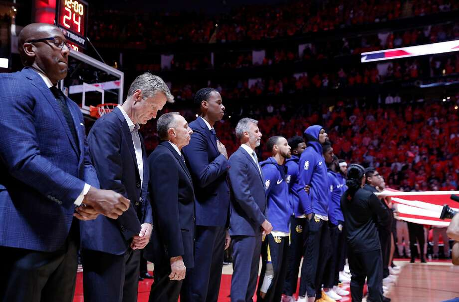 The Warriors lined up during the national anthem before they played the Houston Rockets in Game 7 of the Western Conference Finals at the Toyota Center in Houston, Texas, on Monday, May 28, 2018. Photo: Carlos Avila Gonzalez, The Chronicle