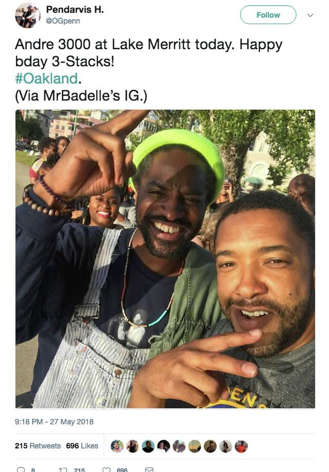 Bay Area residents react to Grammy Award-winning rapper and actor André 3000 hanging out at Oakland's Lake Merritt. Photo: Screengrab Via Twitter