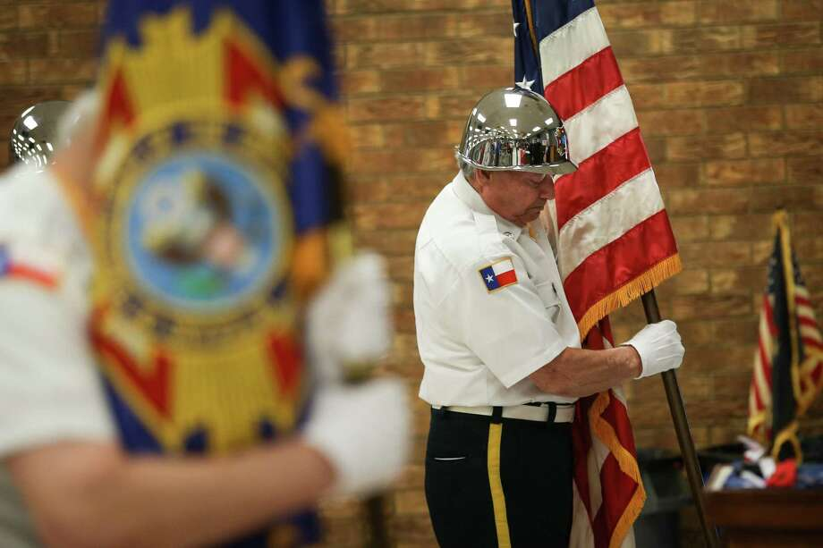 The VFW Post 4709 Honor Guard posts the colors during the Memorial Day ceremony on Monday, May 28, 2018, at Conroe VFW Post 4709. Photo: Michael Minasi, Staff Photographer / Houston Chronicle / © 2018 Houston Chronicle