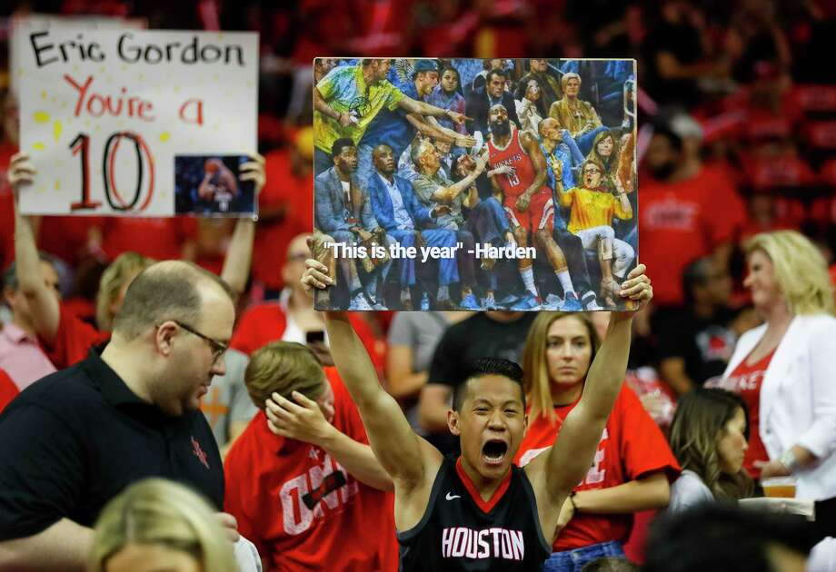 A Rockets fan cheers before Game 7 of the NBA Western Conference Finals at Toyota Center on Monday, May 28, 2018, in Houston. Photo: Brett Coomer, Houston Chronicle / © 2018 Houston Chronicle