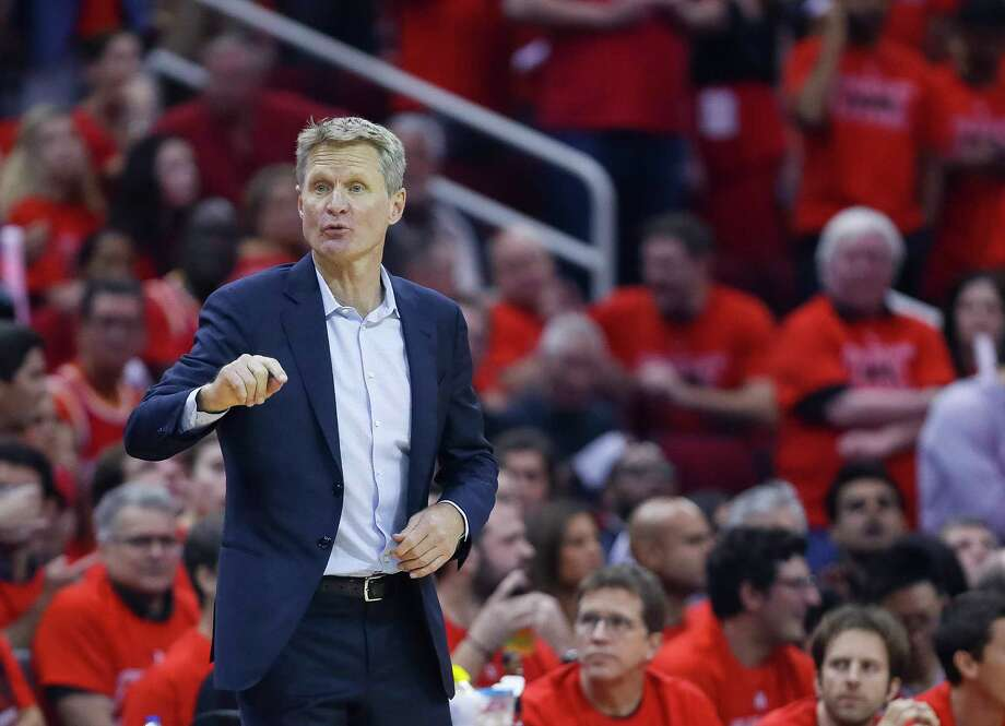 Golden State Warriors head coach Steve Kerr talks to his players during Game 7 of the NBA Western Conference Finals at Toyota Center on Monday, May 28, 2018, in Houston. Photo: Brett Coomer, Houston Chronicle / © 2018 Houston Chronicle