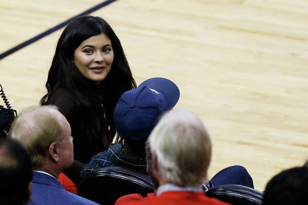 HOUSTON, TX - MAY 28: Kylie Jenner attends Game Seven of the Western Conference Finals of the 2018 NBA Playoffs between the Houston Rockets and the Golden State Warriors at Toyota Center on May 28, 2018 in Houston, Texas. NOTE TO USER: User expressly acknowledges and agrees that, by downloading and or using this photograph, User is consenting to the terms and conditions of the Getty Images License Agreement.