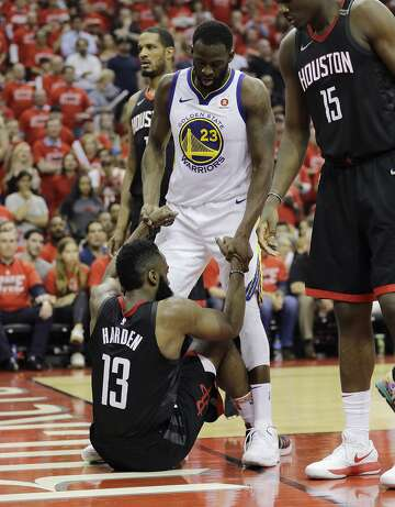 d6544ba9c06 1of71Golden State Warriors forward Draymond Green (23) helps Houston Rockets  guard James Harden (13) after he fell to the floor during the second half  in ...