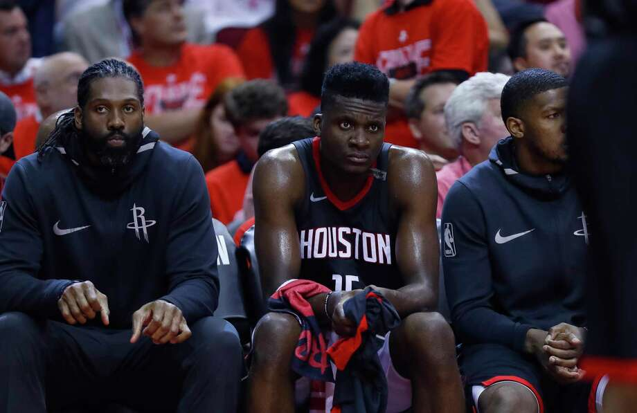 Houston Rockets center Clint Capela (15) and the rest of the Rockets bench react at the end of Game 7 of the NBA Western Conference Finals at Toyota Center on Monday, May 28, 2018, in Houston. Photo: Brett Coomer, Houston Chronicle / © 2018 Houston Chronicle