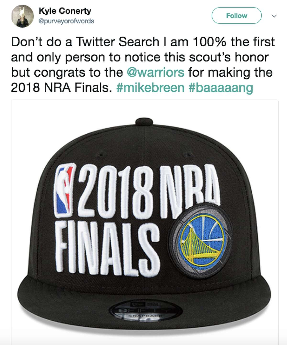 Basketball fans reacted to the 2018 NBA Finals hats on Twitter, saying they look like they say 2018 NRA Finals.