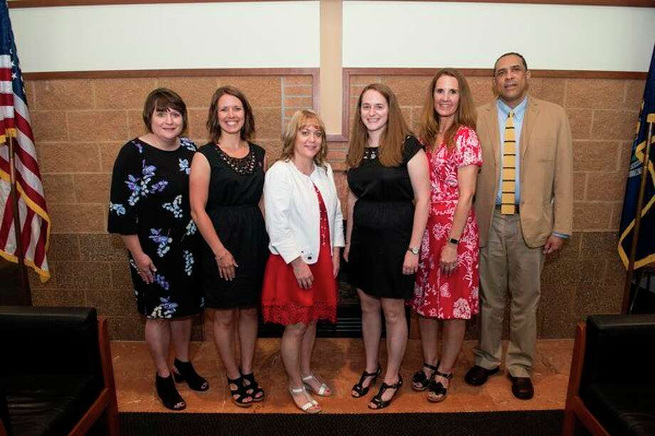 The 2018 recipients of the Carleen K. Moore R.N. Nursing Excellence awards at Saginaw Valley State University are, from left: Jill Hegenauer, Jessica Fodrocy, Jennifer Whyte, Amy Slough, Brenda Harris, and Edwin Vazquez. (Photo provided/Tim Inman, SVSU).