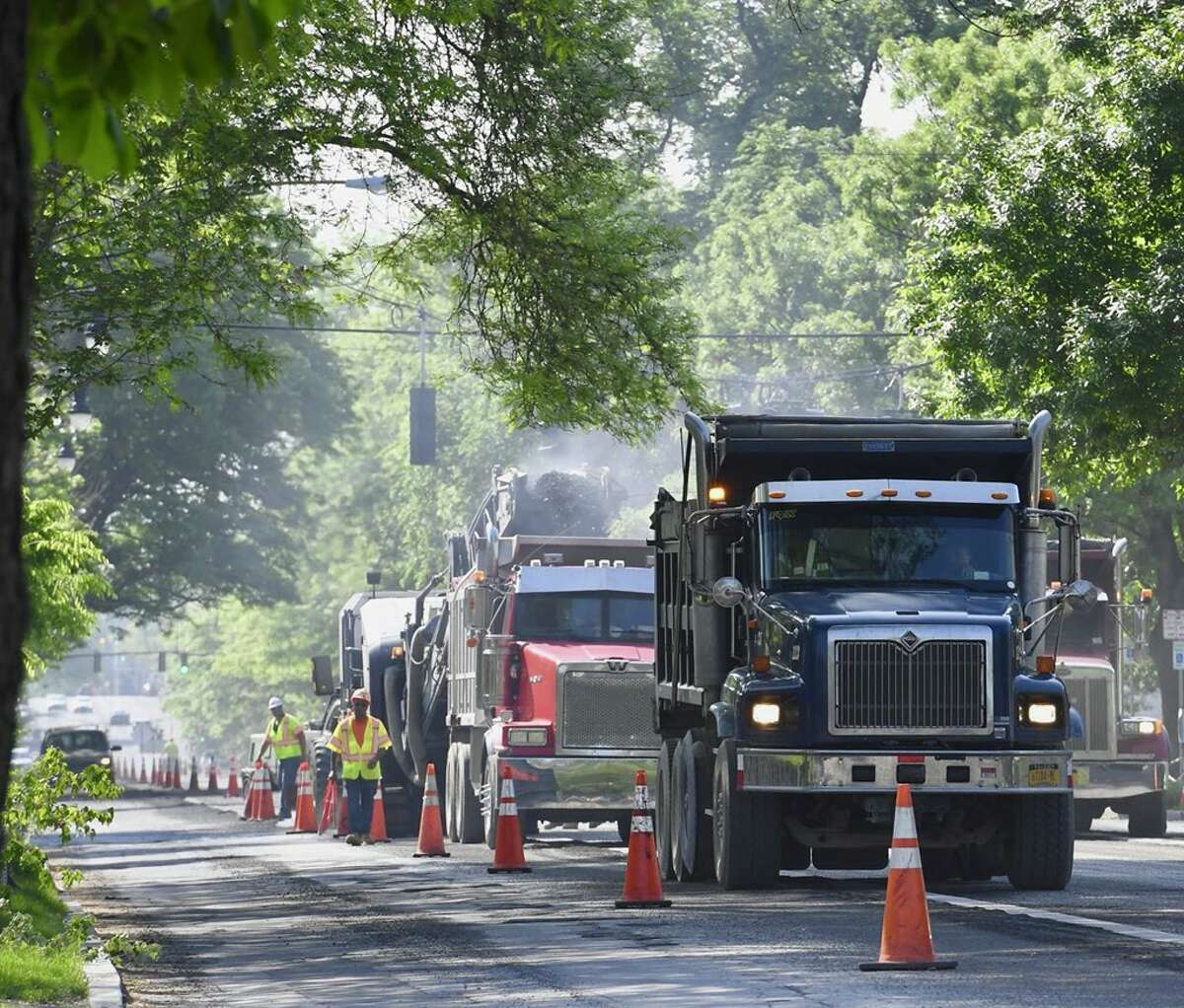 Traffic is disrupted as Madison Avenue in Albany is resurfaced from east of Lake Avenue to Partridge on Tuesday, May 29, 2018. (Skip Dickstein/Times Union)