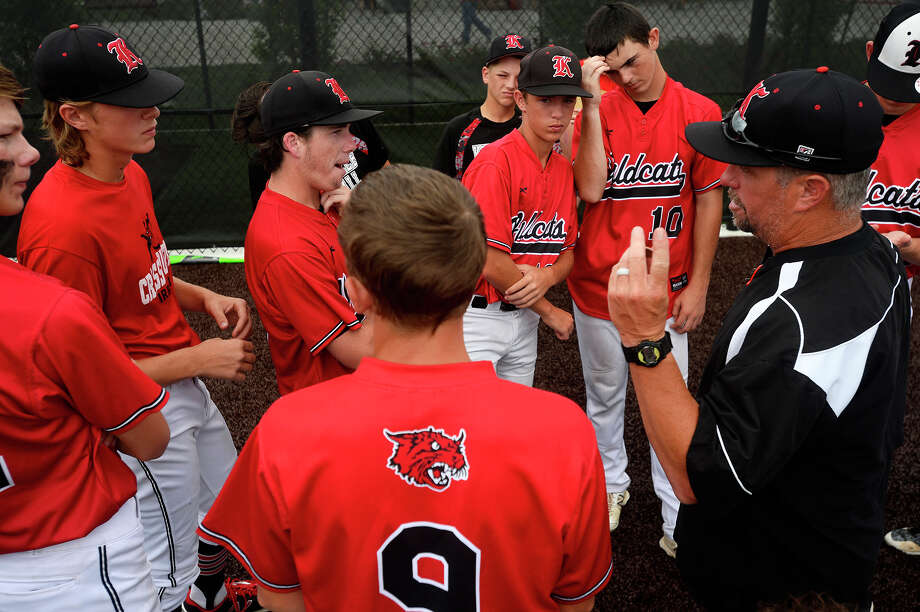 Kirbyville baseball coach Jeff Bennett talks to his team after they lost to Central Heights in game 2 of the a three game series in the Class 3A baseball regional final in Crosby on Friday.  Photo taken Friday 6/2/17 Ryan Pelham/The Enterprise Photo: Ryan Pelham, Ryan Pelham/The Enterprise / ©2017 The Beaumont Enterprise/Ryan Pelham