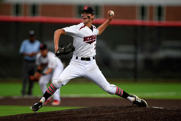 Kirbyville's James Burchett pitches against Central Heights in game 2 of the a three game series in the Class 3A baseball regional final in Crosby on Friday. Photo taken Friday 6/2/17 Ryan Pelham/The Enterprise