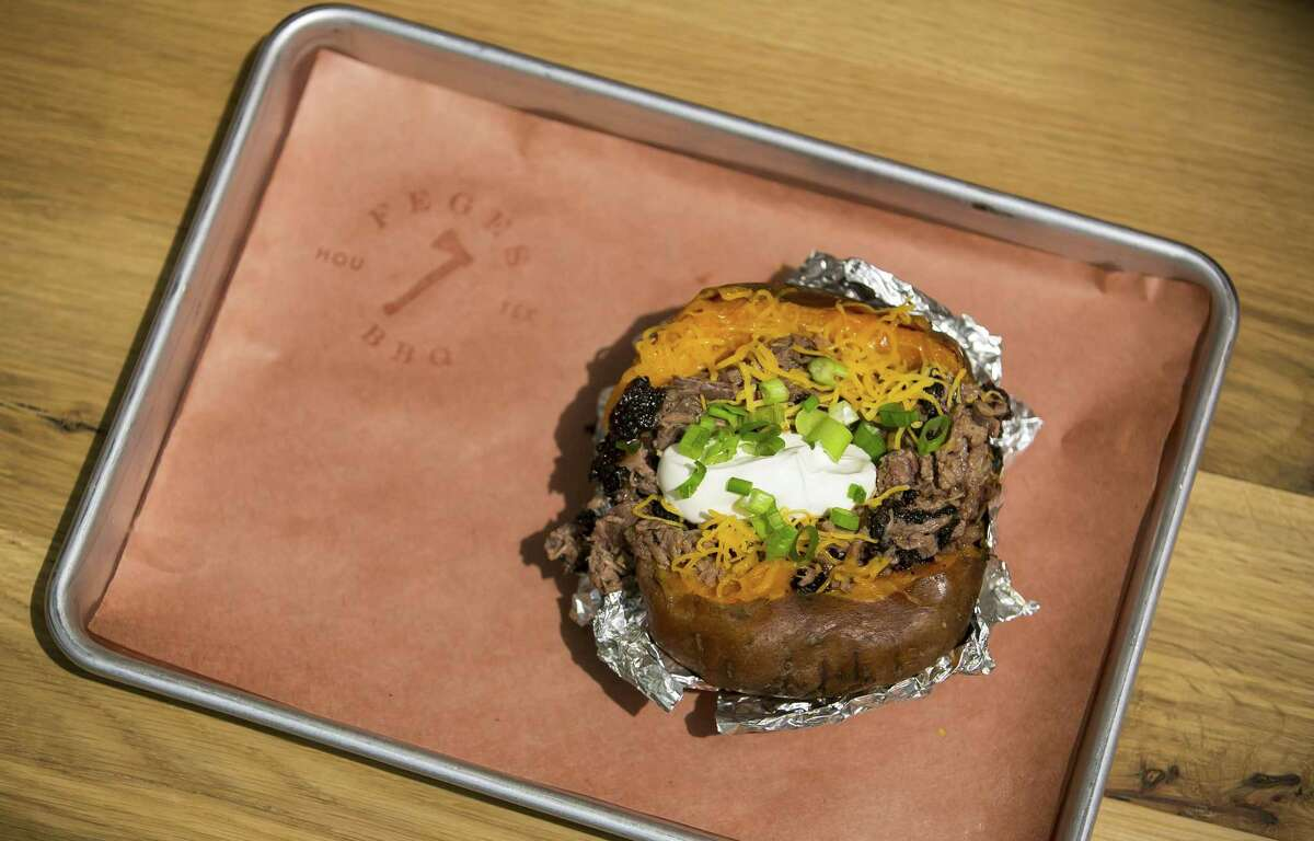Loaded BBQ baked sweet potato at Feges BBQ in Greenway Plaza