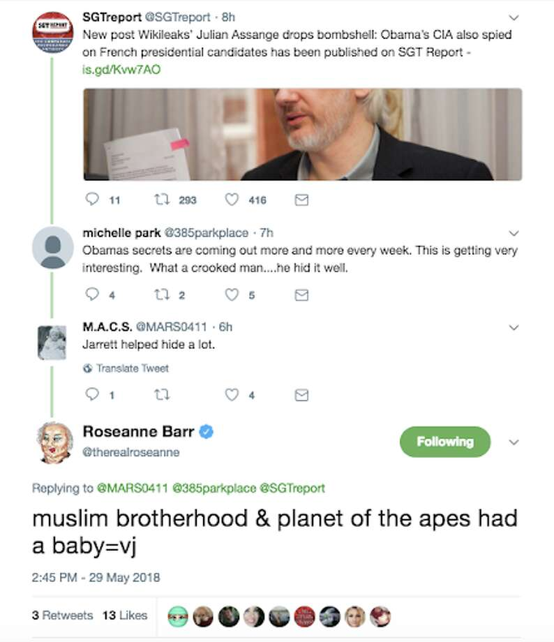 A screenshot of Roseanne Barr's now-deleted racist joke towards former White House official Valerie Jarrett on May 29, 2018. The star of ABC's 'Roseanne' has since apologized. Photo: File/Twitter