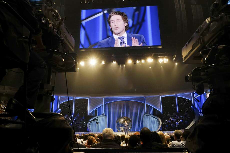 Lakewood's broadcast crew films Joel Osteen's sermon for his weekly television program. Photo: Elizabeth Conley