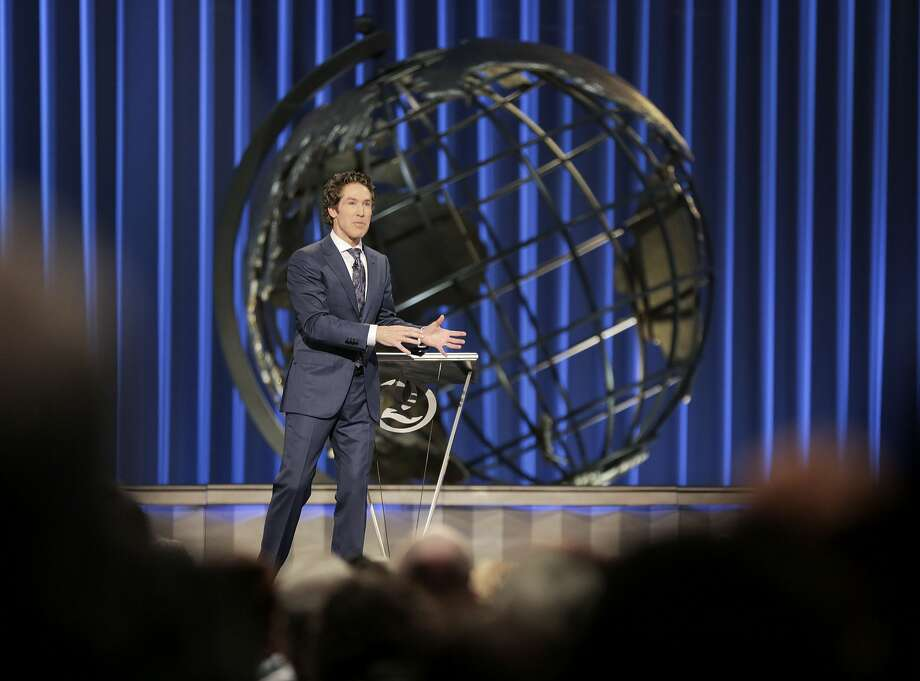 On television, Joel Osteen's sermons are broadcast globally. They reach an estimated 10 million viewers in the U.S. alone. Photo: Elizabeth Conley