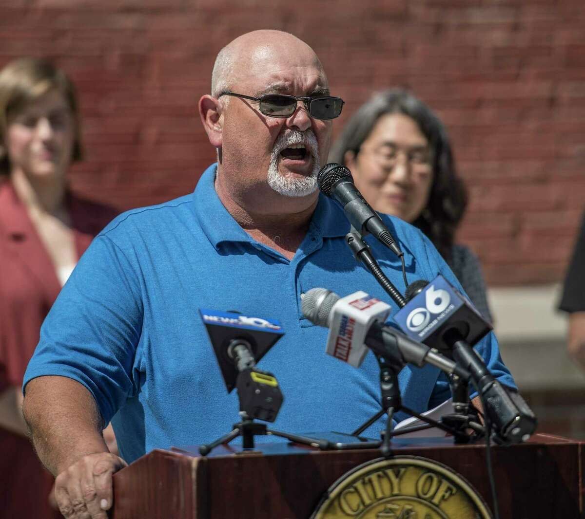 Jim Gulli speaks to the media gathered about the Powers Park Concert series that will be held during summer months at a press briefing Monday May 29, 2018 in Troy, N.Y. (Skip Dickstein/Times Union)